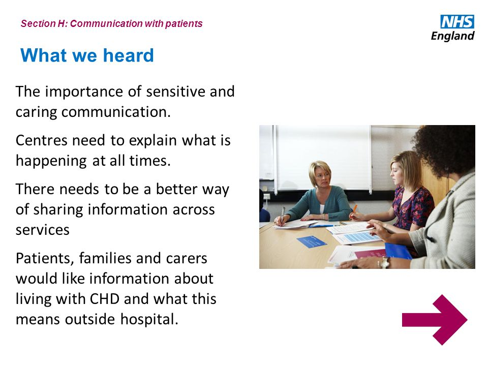 What we heard Section H: Communication with patients The importance of sensitive and caring communication.