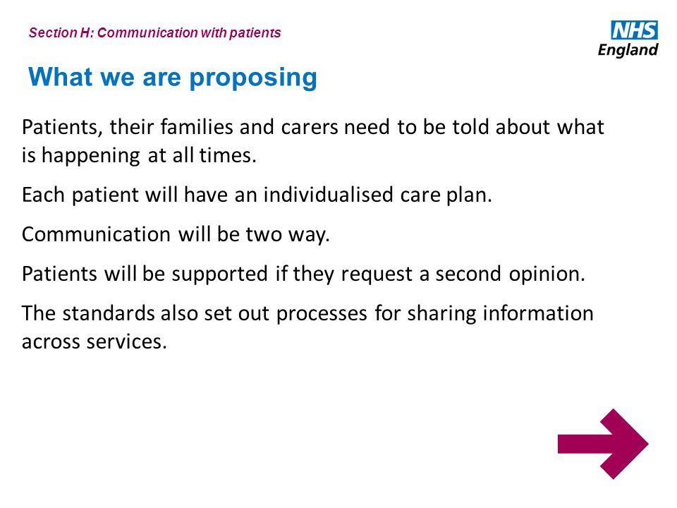 What we are proposing Patients, their families and carers need to be told about what is happening at all times.
