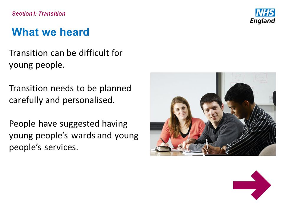 What we heard Section I: Transition Transition can be difficult for young people.