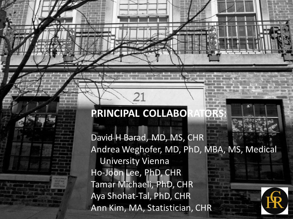 PRINCIPAL COLLABORATORS: David H Barad, MD, MS, CHR Andrea Weghofer, MD, PhD, MBA, MS, Medical University Vienna Ho-Joon Lee, PhD, CHR Tamar Michaeli,