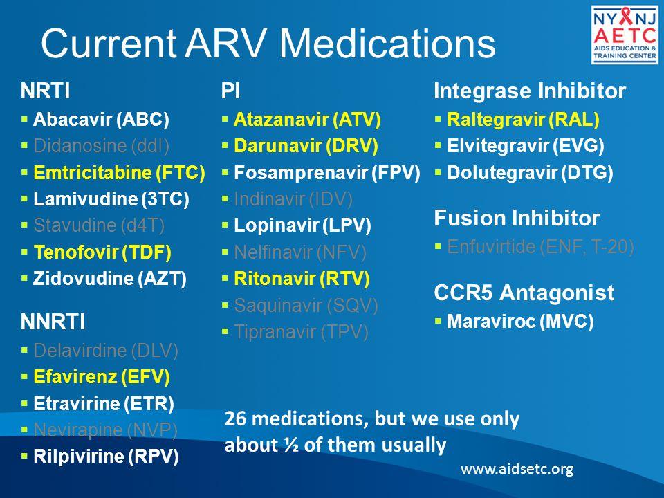 Current ARV Medications NRTI  Abacavir (ABC)  Didanosine (ddI)  Emtricitabine (FTC)  Lamivudine (3TC)  Stavudine (d4T)  Tenofovir (TDF)  Zidovu