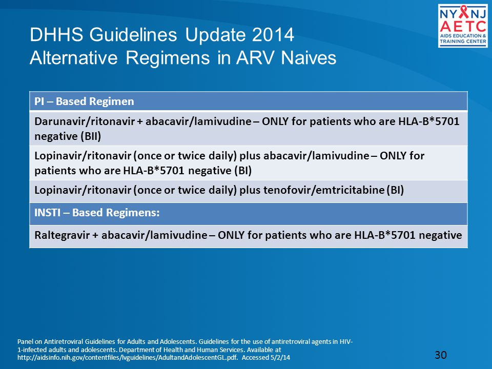 DHHS Guidelines Update 2014 Alternative Regimens in ARV Naives PI – Based Regimen Darunavir/ritonavir + abacavir/lamivudine – ONLY for patients who are HLA-B*5701 negative (BII) Lopinavir/ritonavir (once or twice daily) plus abacavir/lamivudine – ONLY for patients who are HLA-B*5701 negative (BI) Lopinavir/ritonavir (once or twice daily) plus tenofovir/emtricitabine (BI) INSTI – Based Regimens: Raltegravir + abacavir/lamivudine – ONLY for patients who are HLA-B*5701 negative 30 Panel on Antiretroviral Guidelines for Adults and Adolescents.