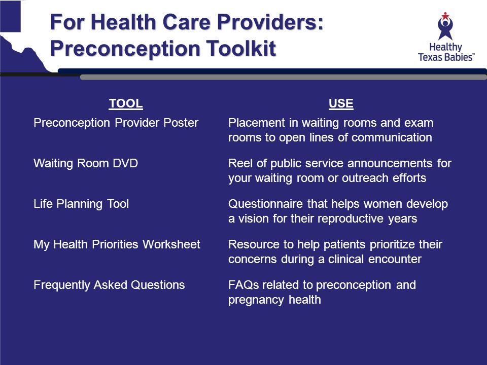 For Health Care Providers: Preconception Toolkit TOOLUSE Preconception Provider PosterPlacement in waiting rooms and exam rooms to open lines of commu