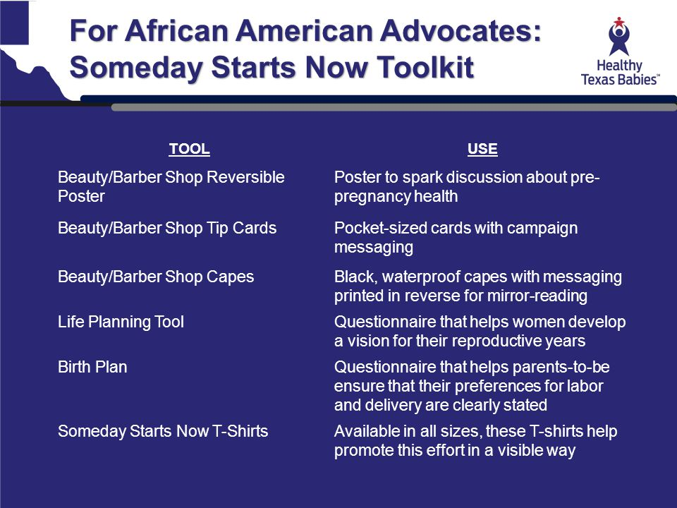 For African American Advocates: Someday Starts Now Toolkit TOOLUSE Beauty/Barber Shop Reversible Poster Poster to spark discussion about pre- pregnanc