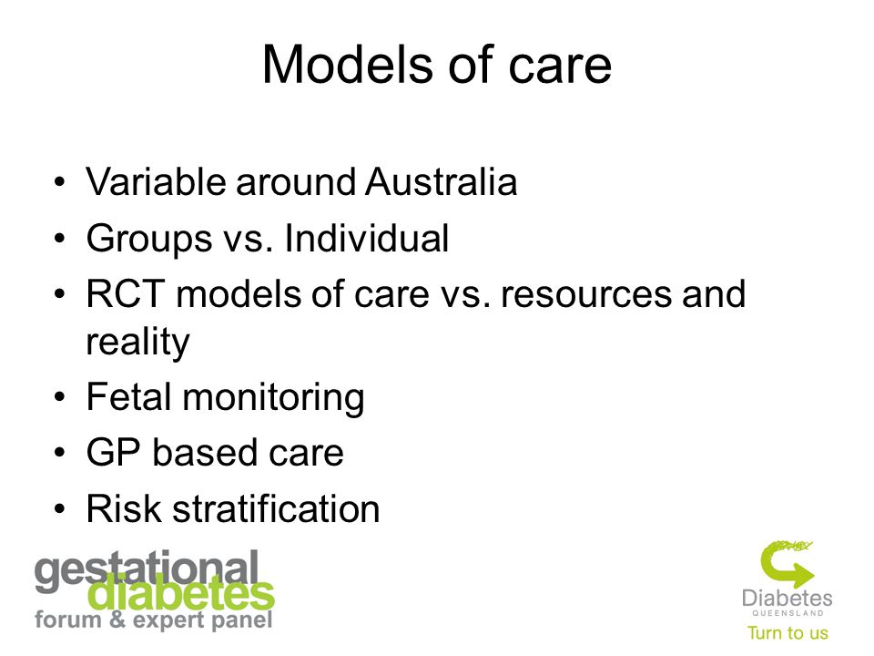 Models of care Variable around Australia Groups vs.