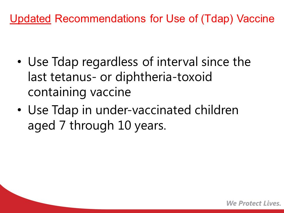 Updated Recommendations for Use of (Tdap) Vaccine Use Tdap regardless of interval since the last tetanus- or diphtheria-toxoid containing vaccine Use Tdap in under-vaccinated children aged 7 through 10 years.