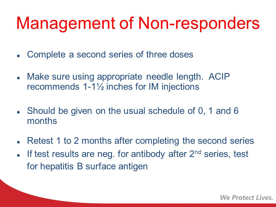 Management of Non-responders Complete a second series of three doses Make sure using appropriate needle length.