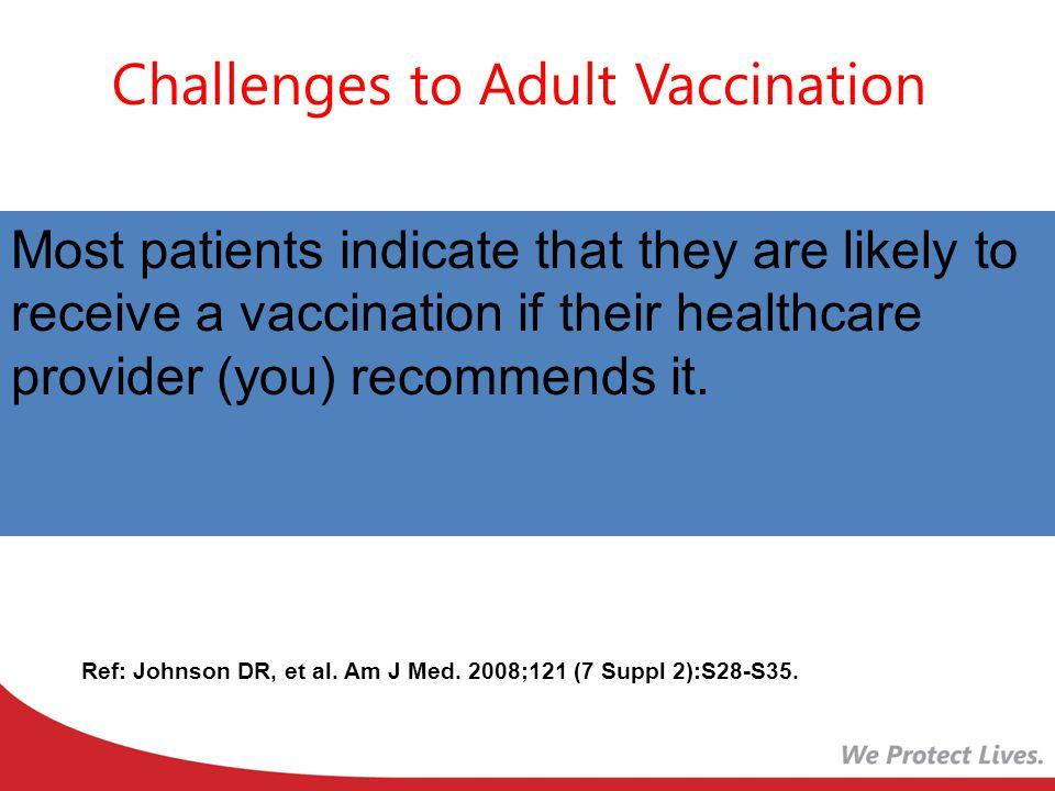 Challenges to Adult Vaccination Ref: Johnson DR, et al.