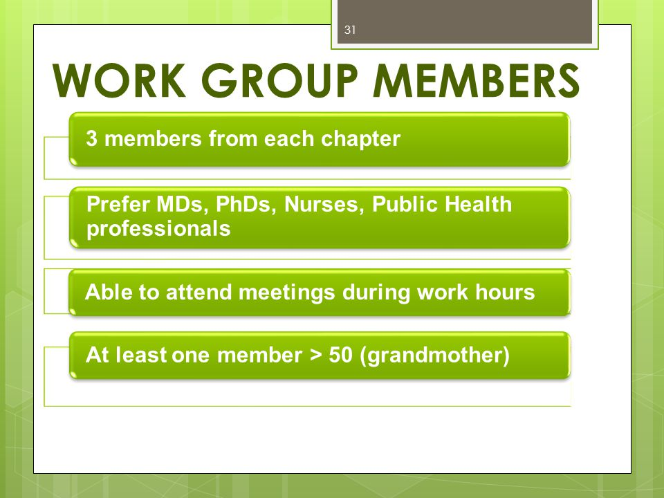 WORK GROUP MEMBERS 31 3 members from each chapter Prefer MDs, PhDs, Nurses, Public Health professionals Able to attend meetings during work hours At least one member > 50 (grandmother)