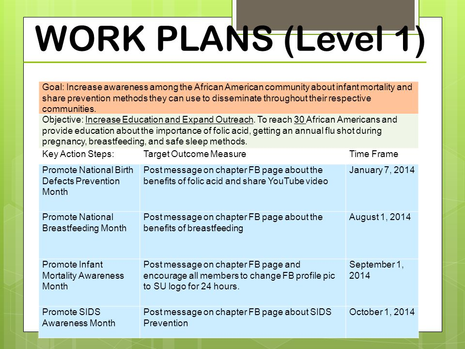WORK PLANS (Level 1) 53 Goal: Increase awareness among the African American community about infant mortality and share prevention methods they can use to disseminate throughout their respective communities.