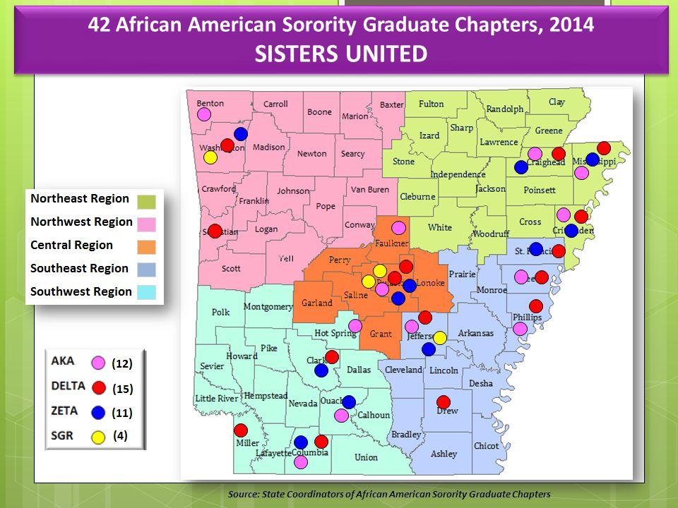 Source: State Coordinators of African American Sorority Graduate Chapters 42 African American Sorority Graduate Chapters, 2014 SISTERS UNITED 42 African American Sorority Graduate Chapters, 2014 SISTERS UNITED