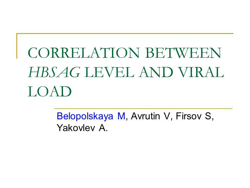 CORRELATION BETWEEN HBSAG LEVEL AND VIRAL LOAD Belopolskaya M, Avrutin V, Firsov S, Yakovlev A.