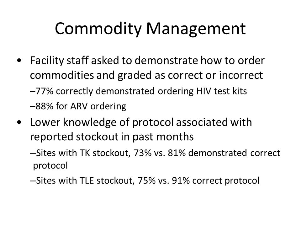 Commodity Management Facility staff asked to demonstrate how to order commodities and graded as correct or incorrect –77% correctly demonstrated order