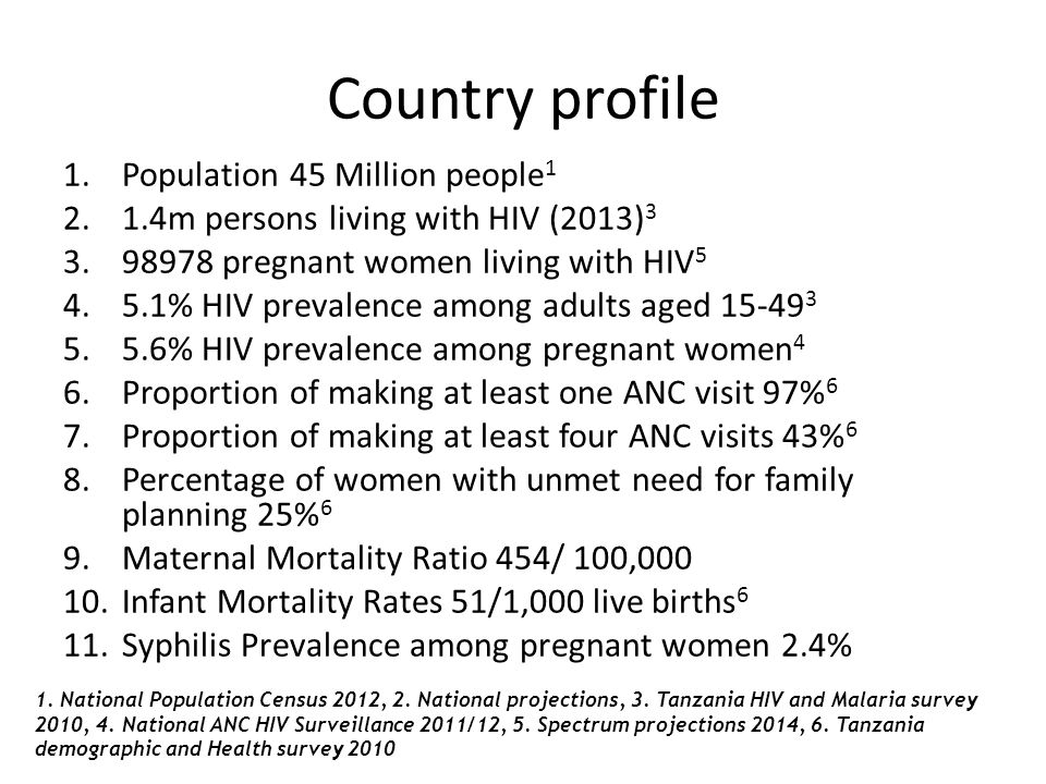 Country profile 1.Population 45 Million people 1 2.1.4m persons living with HIV (2013) 3 3.98978 pregnant women living with HIV 5 4.5.1% HIV prevalenc