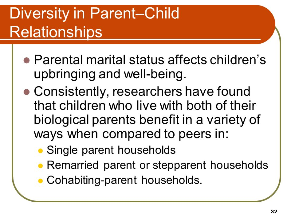 Diversity in Parent–Child Relationships Parental marital status affects children's upbringing and well-being. Consistently, researchers have found tha