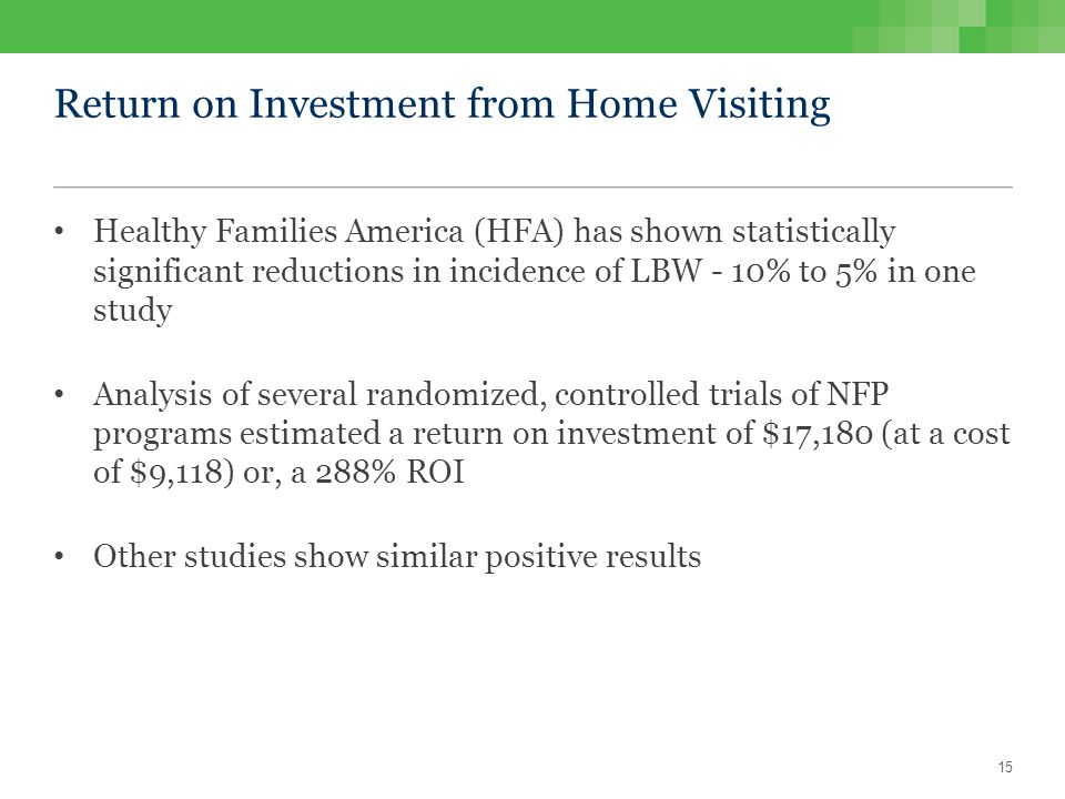 Return on Investment from Home Visiting Healthy Families America (HFA) has shown statistically significant reductions in incidence of LBW - 10% to 5% in one study Analysis of several randomized, controlled trials of NFP programs estimated a return on investment of $17,180 (at a cost of $9,118) or, a 288% ROI Other studies show similar positive results 15