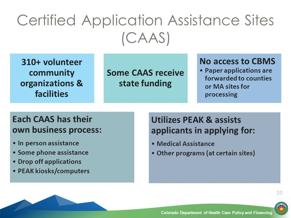Colorado Department of Health Care Policy and FinancingColorado Department of Health Care Policy and Financing 10 Certified Application Assistance Sites (CAAS) 310+ volunteer community organizations & facilities Some CAAS receive state funding No access to CBMS Paper applications are forwarded to counties or MA sites for processing Each CAAS has their own business process: In person assistance Some phone assistance Drop off applications PEAK kiosks/computers Utilizes PEAK & assists applicants in applying for: Medical Assistance Other programs (at certain sites)