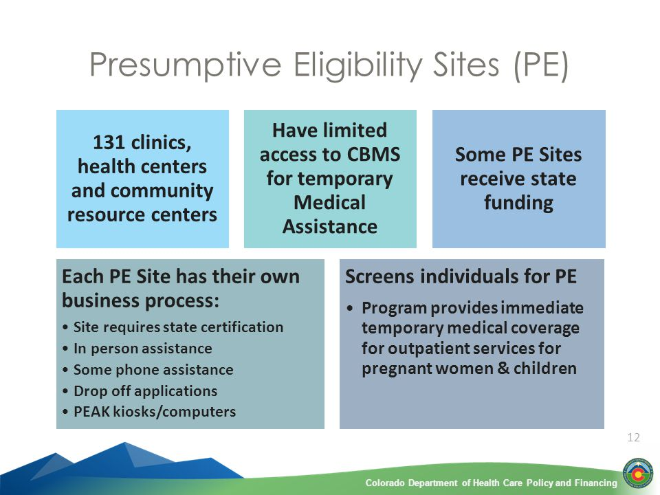 Colorado Department of Health Care Policy and FinancingColorado Department of Health Care Policy and Financing 12 Presumptive Eligibility Sites (PE) 131 clinics, health centers and community resource centers Have limited access to CBMS for temporary Medical Assistance Some PE Sites receive state funding Each PE Site has their own business process: Site requires state certification In person assistance Some phone assistance Drop off applications PEAK kiosks/computers Screens individuals for PE Program provides immediate temporary medical coverage for outpatient services for pregnant women & children
