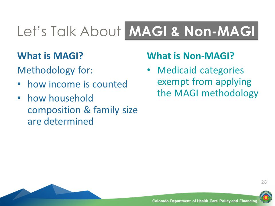 Colorado Department of Health Care Policy and FinancingColorado Department of Health Care Policy and Financing 28 Let's Talk About MAGI & Non-MAGI What is MAGI.