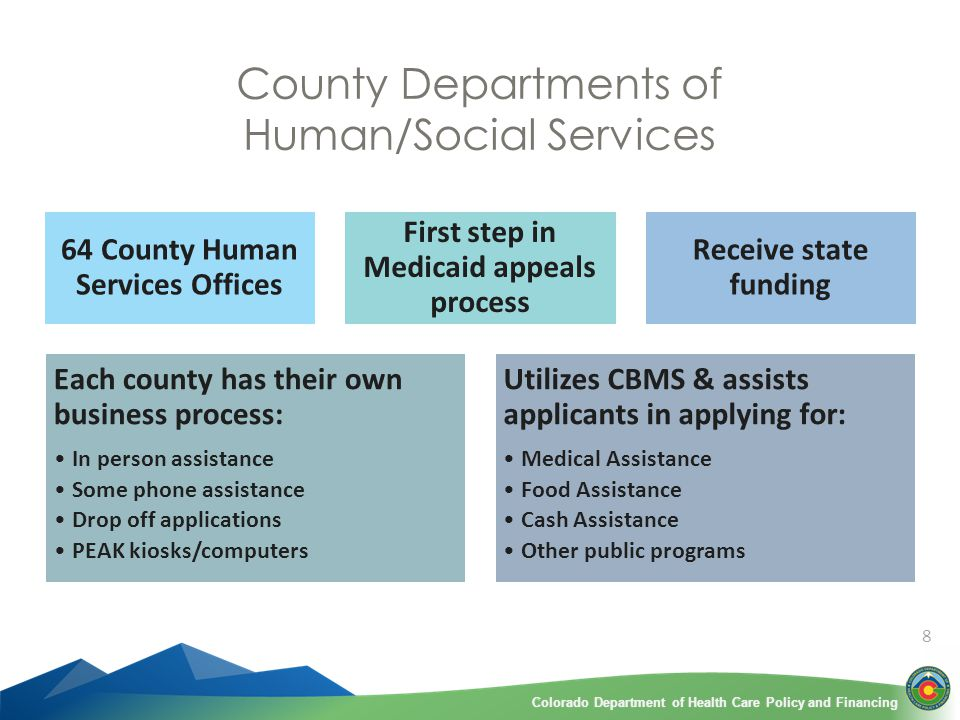 Colorado Department of Health Care Policy and FinancingColorado Department of Health Care Policy and Financing 8 County Departments of Human/Social Services 64 County Human Services Offices First step in Medicaid appeals process Receive state funding Each county has their own business process: In person assistance Some phone assistance Drop off applications PEAK kiosks/computers Utilizes CBMS & assists applicants in applying for: Medical Assistance Food Assistance Cash Assistance Other public programs