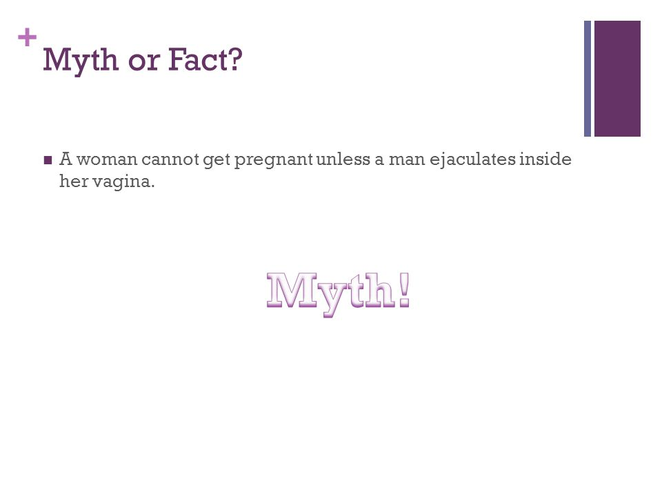 + Myth or Fact? A woman cannot get pregnant unless a man ejaculates inside her vagina.
