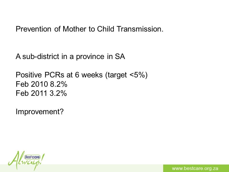 Prevention of Mother to Child Transmission.