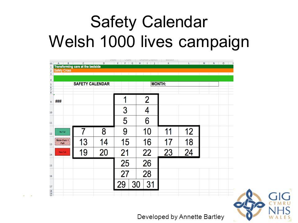Safety Calendar Welsh 1000 lives campaign I Developed by Annette Bartley