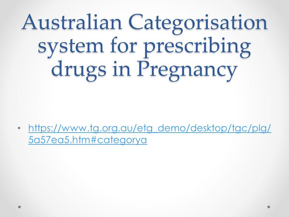 Australian Categorisation system for prescribing drugs in Pregnancy https://www.tg.org.au/etg_demo/desktop/tgc/plg/ 5a57ea5.htm#categorya https://www.