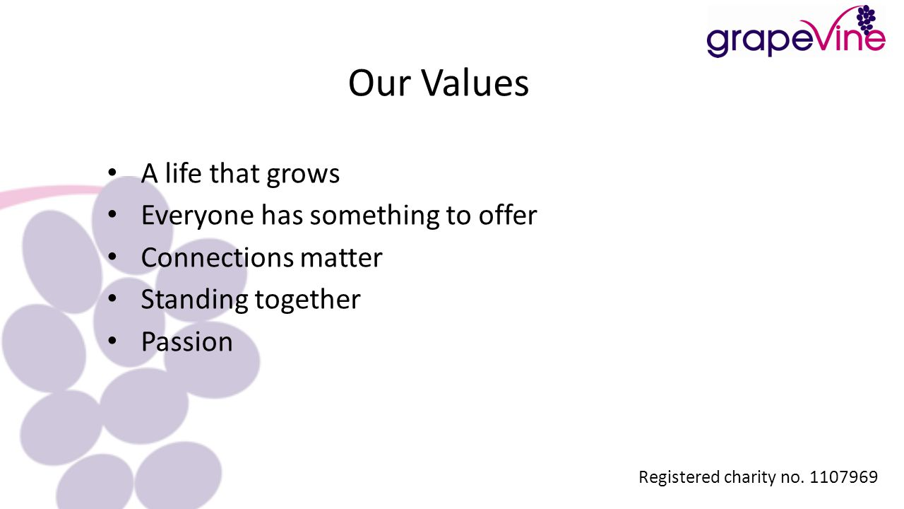 Our Values A life that grows Everyone has something to offer Connections matter Standing together Passion