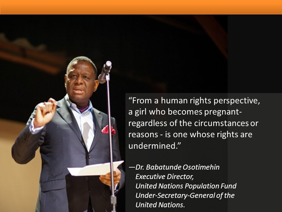 UNFPA is guided by the Programme of Action of the International Conference on Population and Development (ICPD), respecting protecting and fulfilling adolescents human rights including their right to sexual and reproductive health and reproductive health.