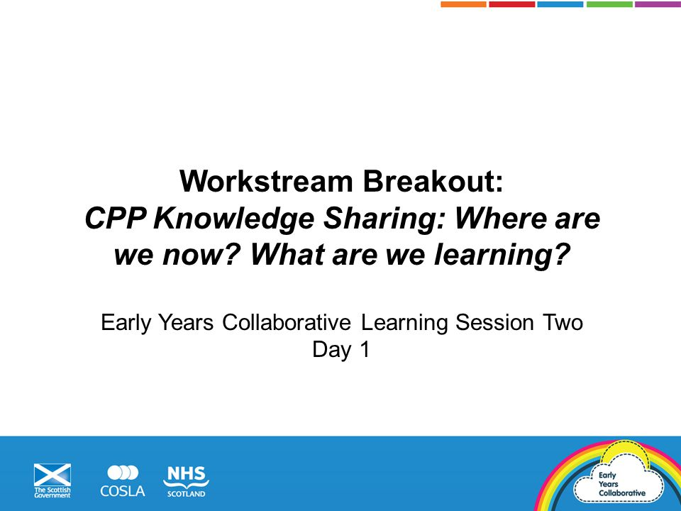 Workstream Breakout: CPP Knowledge Sharing: Where are we now.