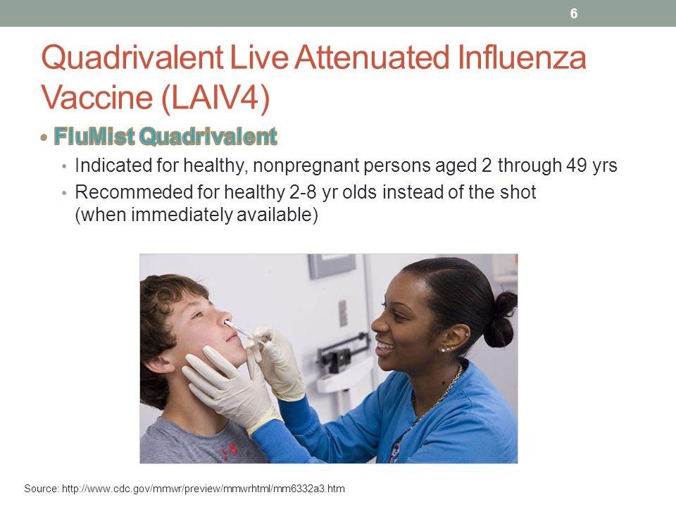Quadrivalent Inactivated Influenza Vaccine (IIV4) Injection Source: http://www.cdc.gov/mmwr/preview/mmwrhtml/mm6332a3.htm 7