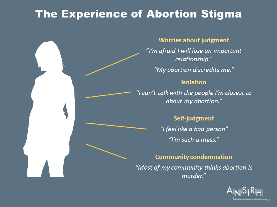 The Experience of Abortion Stigma Worries about judgment I'm afraid I will lose an important relationship. My abortion discredits me. Isolation I can't talk with the people I'm closest to about my abortion. Self-judgment I feel like a bad person I'm such a mess. Community condemnation Most of my community thinks abortion is murder.