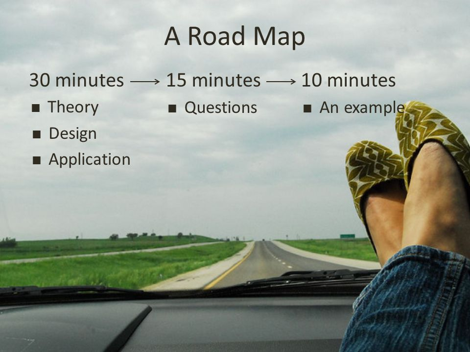 A Road Map 30 minutes  Theory  Design  Application 15 minutes  Questions 10 minutes  An example