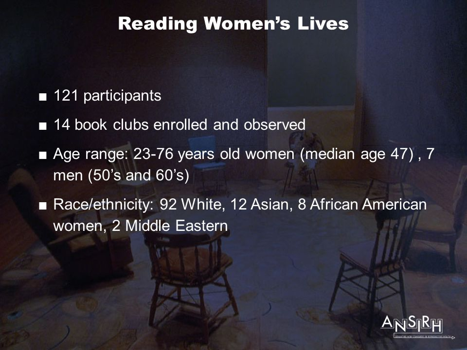 Reading Women's Lives  121 participants  14 book clubs enrolled and observed  Age range: 23-76 years old women (median age 47), 7 men (50's and 60's)  Race/ethnicity: 92 White, 12 Asian, 8 African American women, 2 Middle Eastern