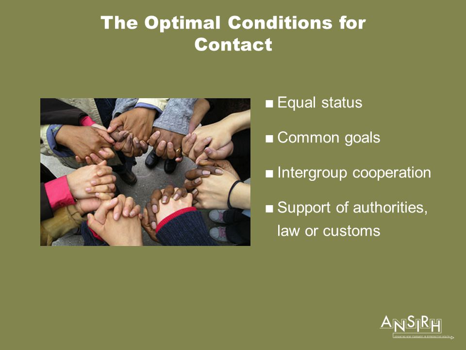 The Optimal Conditions for Contact  Equal status  Common goals  Intergroup cooperation  Support of authorities, law or customs