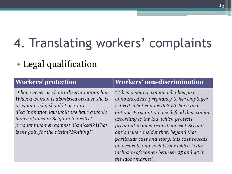"4. Translating workers' complaints Legal qualification Workers' protectionWorkers' non-discrimination ""I have never used anti-discrimination law. When"