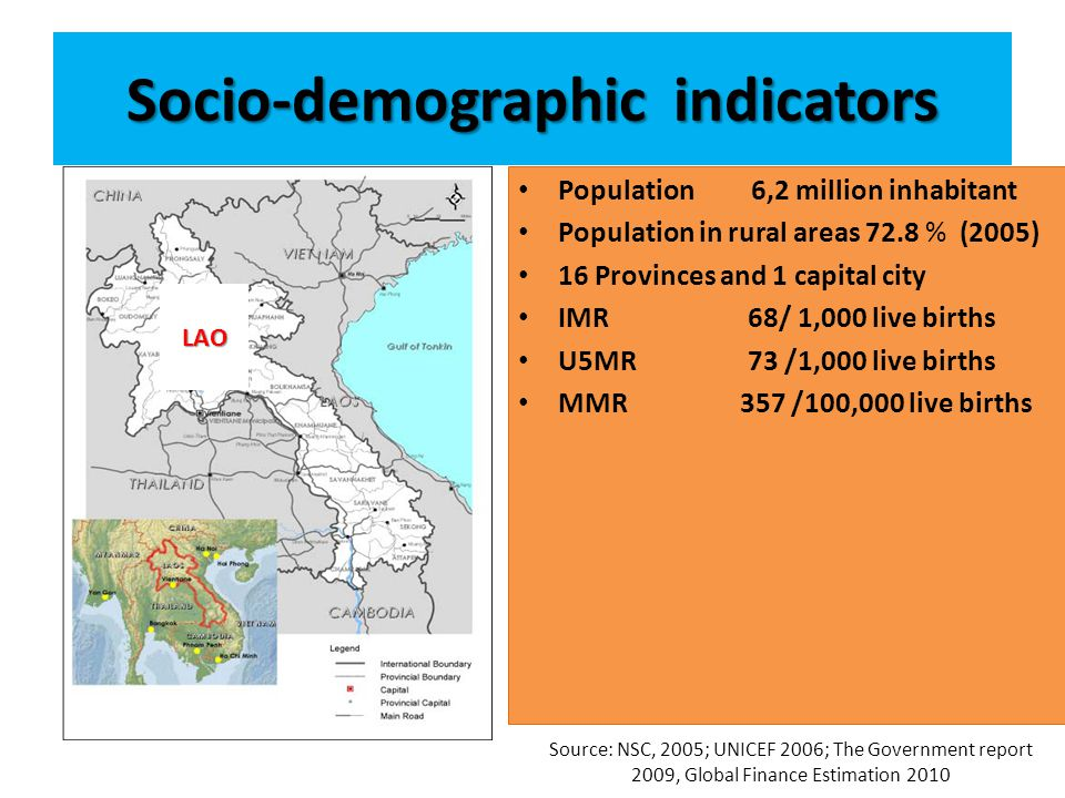 Socio-demographic indicators Population 6,2 million inhabitant Population in rural areas 72.8 % (2005) 16 Provinces and 1 capital city IMR 68/ 1,000 live births U5MR 73 /1,000 live births MMR 357 /100,000 live births Source: NSC, 2005; UNICEF 2006; The Government report 2009, Global Finance Estimation 2010 LAO