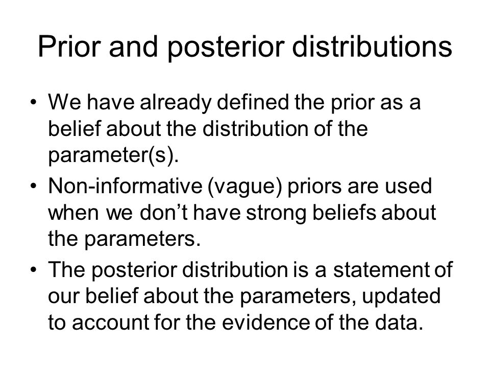 Prior and posterior distributions We have already defined the prior as a belief about the distribution of the parameter(s).