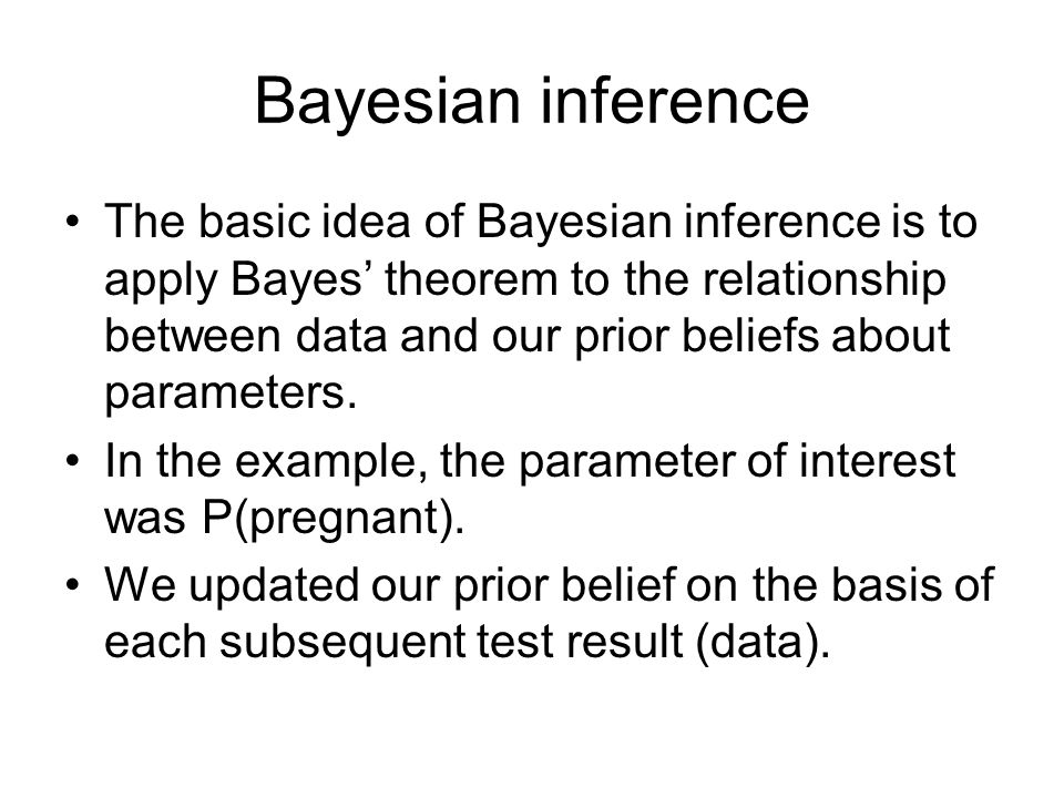 Bayesian inference The basic idea of Bayesian inference is to apply Bayes' theorem to the relationship between data and our prior beliefs about parame