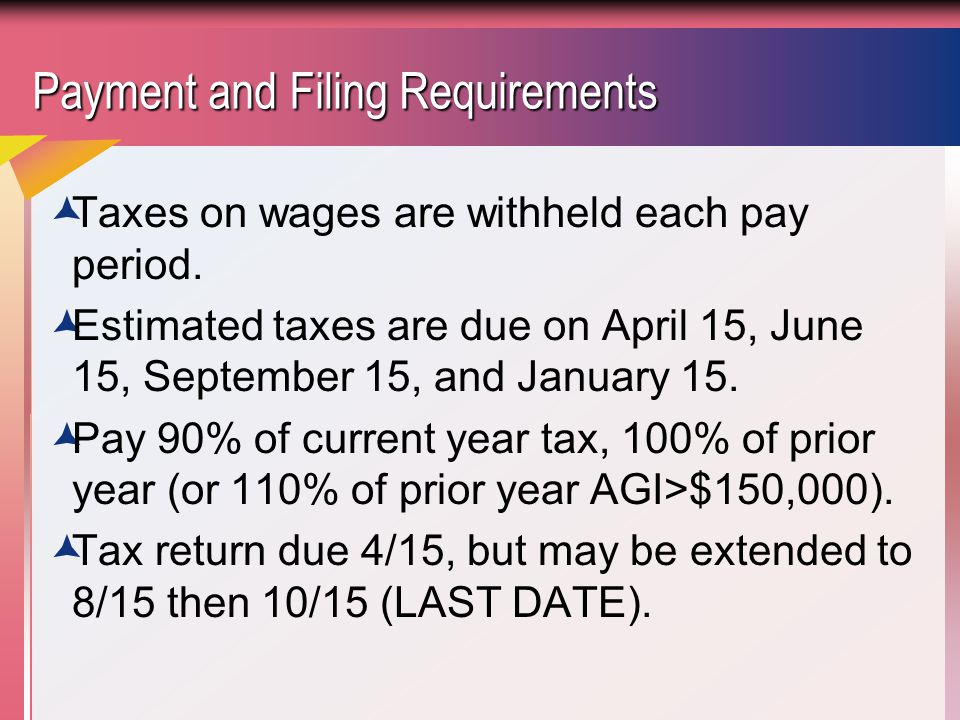 Payment and Filing Requirements  Taxes on wages are withheld each pay period.