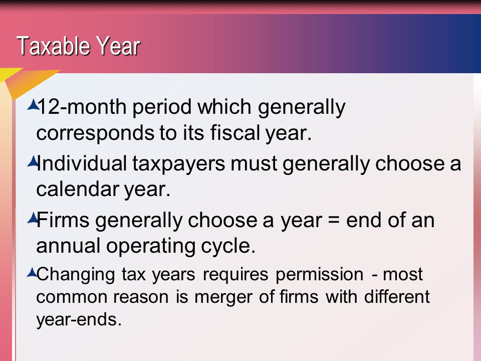 Taxable Year  12-month period which generally corresponds to its fiscal year.