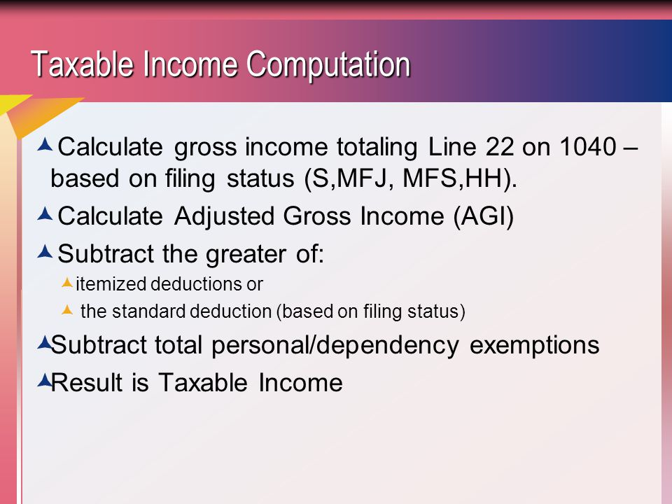 Taxable Income Computation Taxable Income Computation  Calculate gross income totaling Line 22 on 1040 – based on filing status (S,MFJ, MFS,HH).