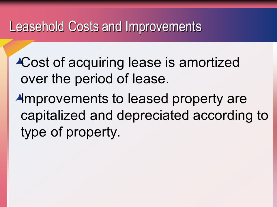 Leasehold Costs and Improvements  Cost of acquiring lease is amortized over the period of lease.