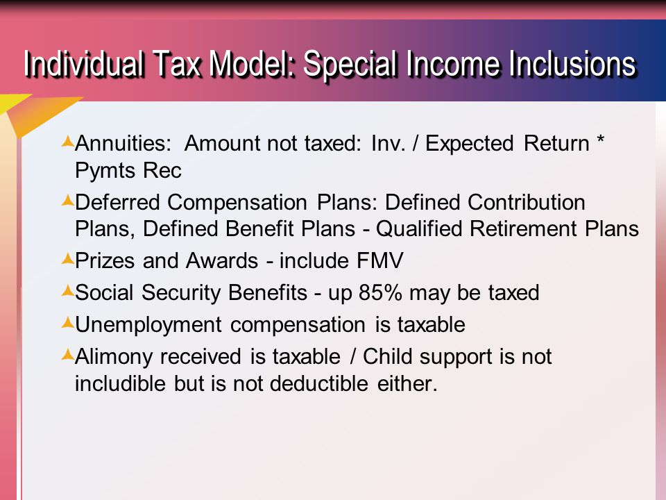 Individual Tax Model: Special Income Inclusions  Annuities: Amount not taxed: Inv.