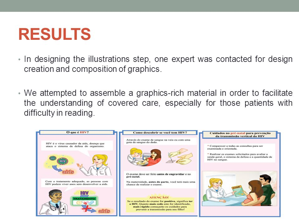 RESULTS In designing the illustrations step, one expert was contacted for design creation and composition of graphics.