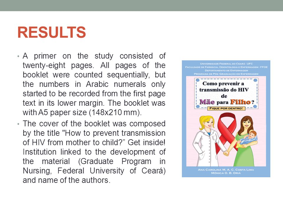 RESULTS A primer on the study consisted of twenty-eight pages.