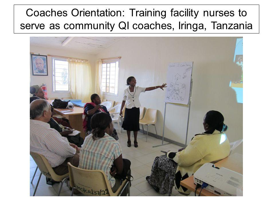 Coaches Orientation: Training facility nurses to serve as community QI coaches, Iringa, Tanzania