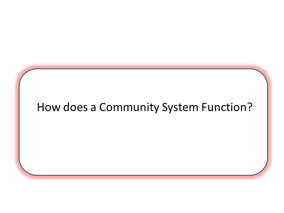 How does a Community System Function?
