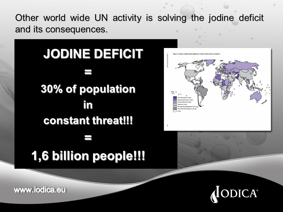 Other world wide UN activity is solving the jodine deficit and its consequences.